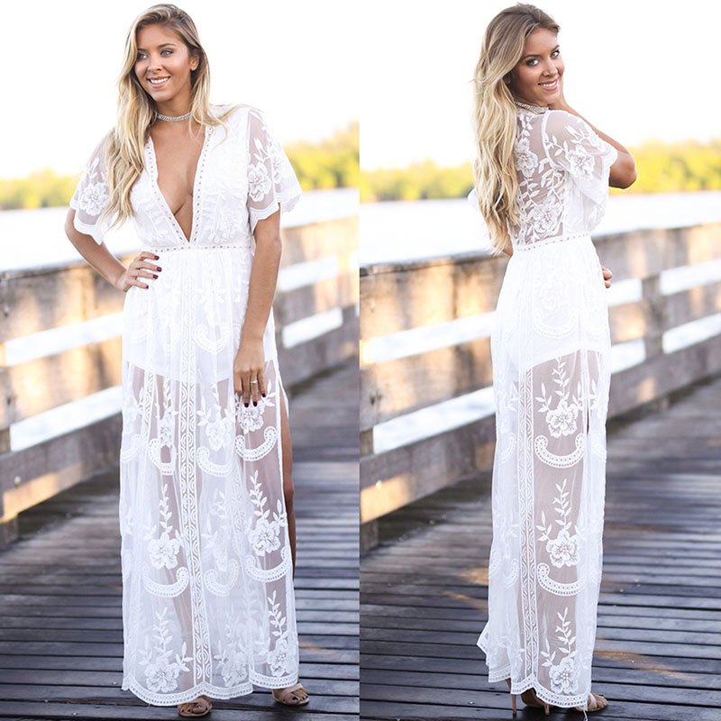 RUIYIGE 2017 New Sexy Women See Through Lace Party Dress Maxi Long V Neck Tunic Mesh