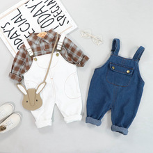 New Autumn Baby Girls Boys Clothing Sets Infant Clothes Suits Lapel Plaid Shirt Bib Pants Kids Children Costume Kids Suit цена в Москве и Питере