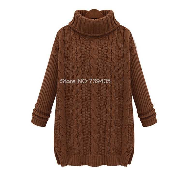 fcaf179834b9 2014 Autumn New Fashion Pullovers Sweaters Women Casual White Long Sleeve  Turtleneck Chunky Cable Knit Sweater-in Pullovers from Women s Clothing on  ...