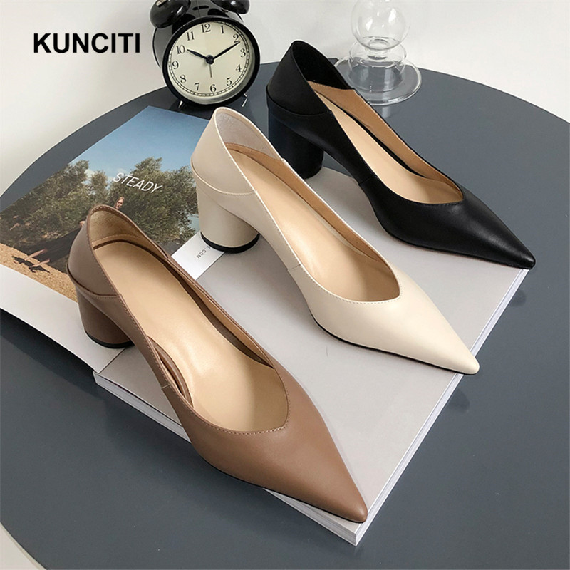 2019 Ladies High Heel Shoes Pointy Toe Women Pumps Italian European Shoes With Heels Genuine Leather