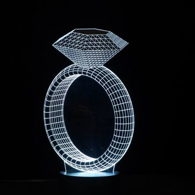 3D Illusion Table Lamp Night Light with Diamond Ring Shape – 7 Color Lights