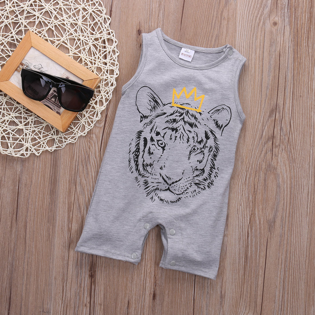Newborn Toddler Infant Baby Boy Girl Unisex Clothes Tiger Printed Romper Jumpsuit Playsuit Outfits 0-24M spring baby romper infant boy bear romper newborn hooded animal clothes toddler cute panda romper kid girl jumpsuit baby costume