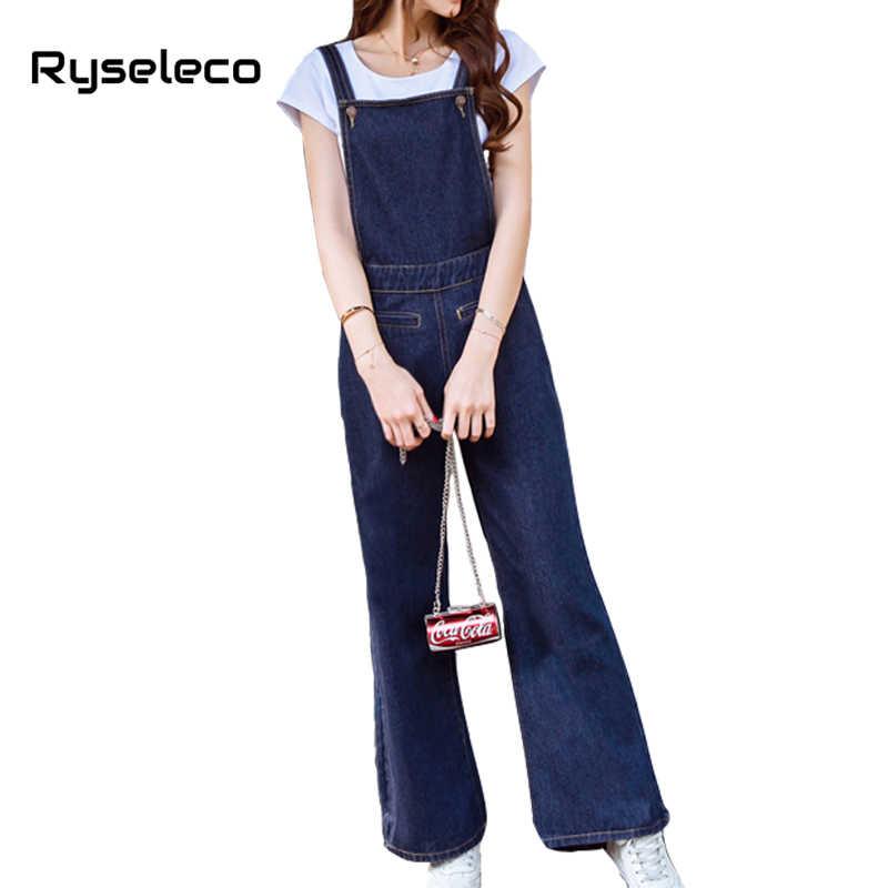 fe7f2e8c7322 Fashion High Waist Loose Full Flare Length Women Classic Denim Jumpsuits  Bib Strap Overalls Wide Leg