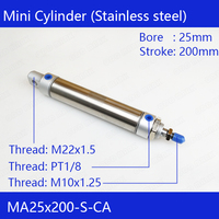 MA25x200 Free shipping Pneumatic Stainless Air Cylinder 25MM Bore 200MM Stroke  MA25X200-S-CA Double Action Mini Round Cylinders