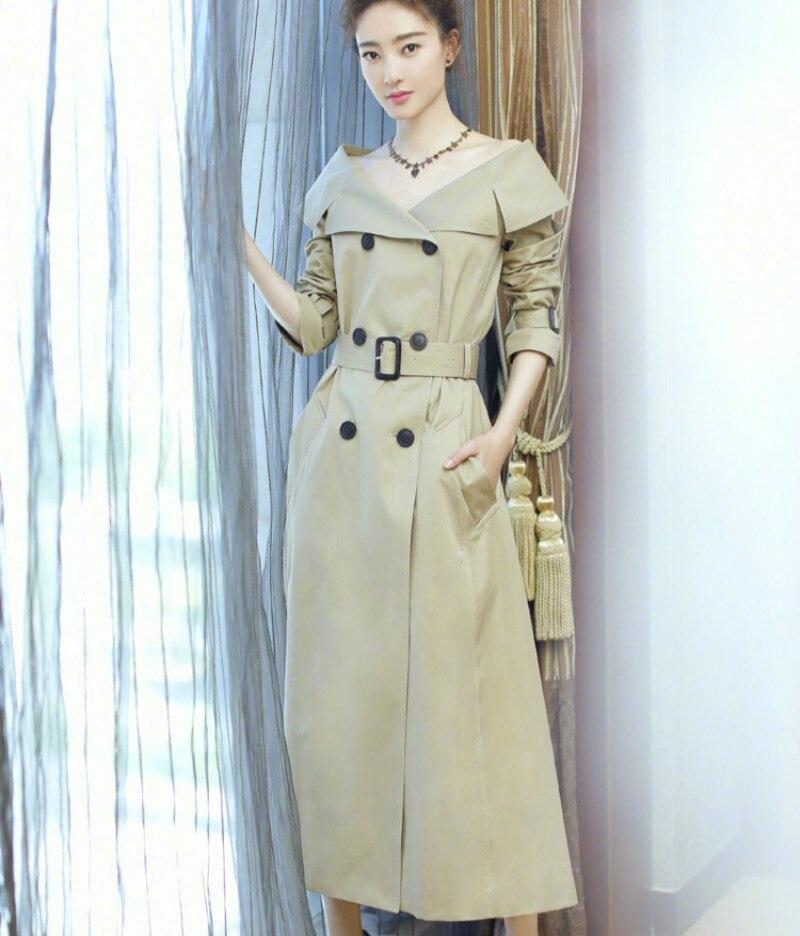 Vêtements Épaule Noir Designer Longue Ceinture Survêtement Double ivoire Coupe Femelle Tranchée vent 2018 Manteau cou Hors V Femmes Nouveau Breasted Sexy Automne qHnRw0x5Aa