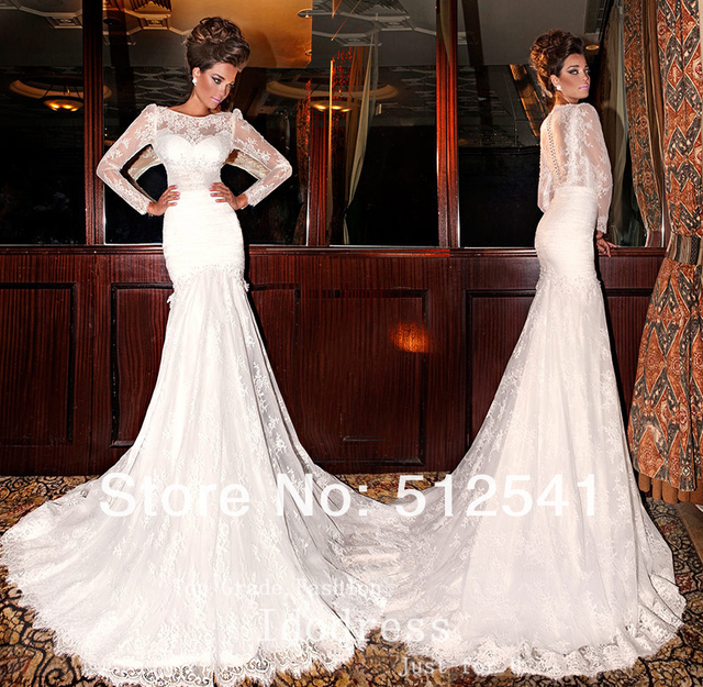 Sheer illusion Long Sleeve Wedding Dresses 2015 Lace Applique ...