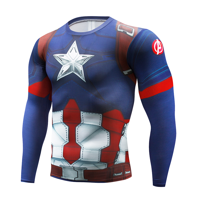 2beeb89b5 2018 New Cycling Fitness Base Layer Compression Shirt Men Anime  Bodybuilding Long Sleeve Crossfit 3D Captain America Gym Jersey