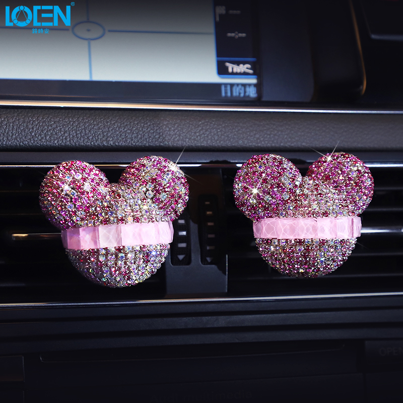 LOEN 2 Pieces Car Air Freshener Auto Accessories Interior Air Outlet Perfume Aromatherapy Crystal Diamond Cute Cartoon Fashion