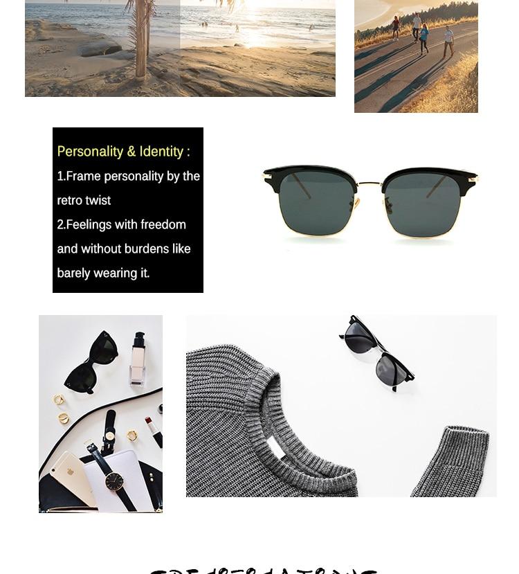 Vintage Metal Half-Rim Sunglasses Women 2018 Tidien Retro Plastic Mirror Shopping Fishing Ray Classic Sun Glasses Women 1319 (4)