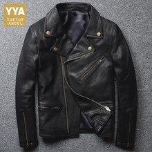 Черная куртка-бомбер в стиле стимпанк из овечьей кожи, мужская куртка на молнии, Байкерская мотоциклетная куртка из натуральной кожи, мужская одежда
