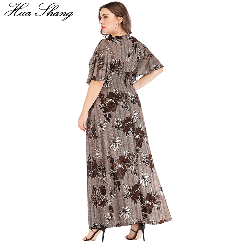 Plus Size Dress Summer 2019 Women V Neck Flare Short Sleeve Floral Print Vintage Dress Elastic High Waist Tunic Beach Dresses