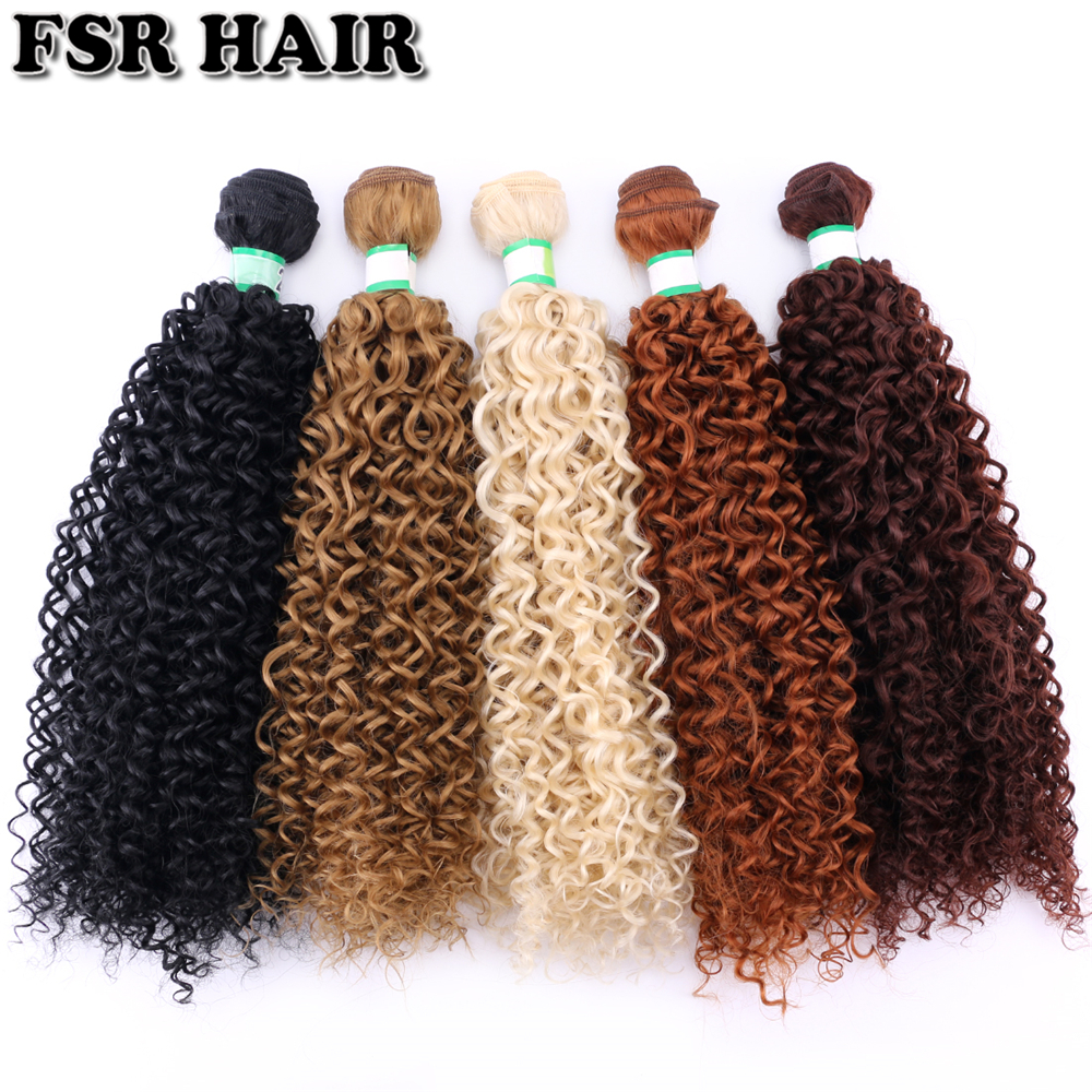 Afro Kinky Curly Hair Weave Black Color Synthetic Hair Extension 100 Gram/pcs Tissage Fiber Weaving