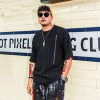 Men Summer Fashion Zipper Short Sleeve Loose Casual Black T shirt Male Streetwear Hip Hop Tshirt Big Size Tees Shirts