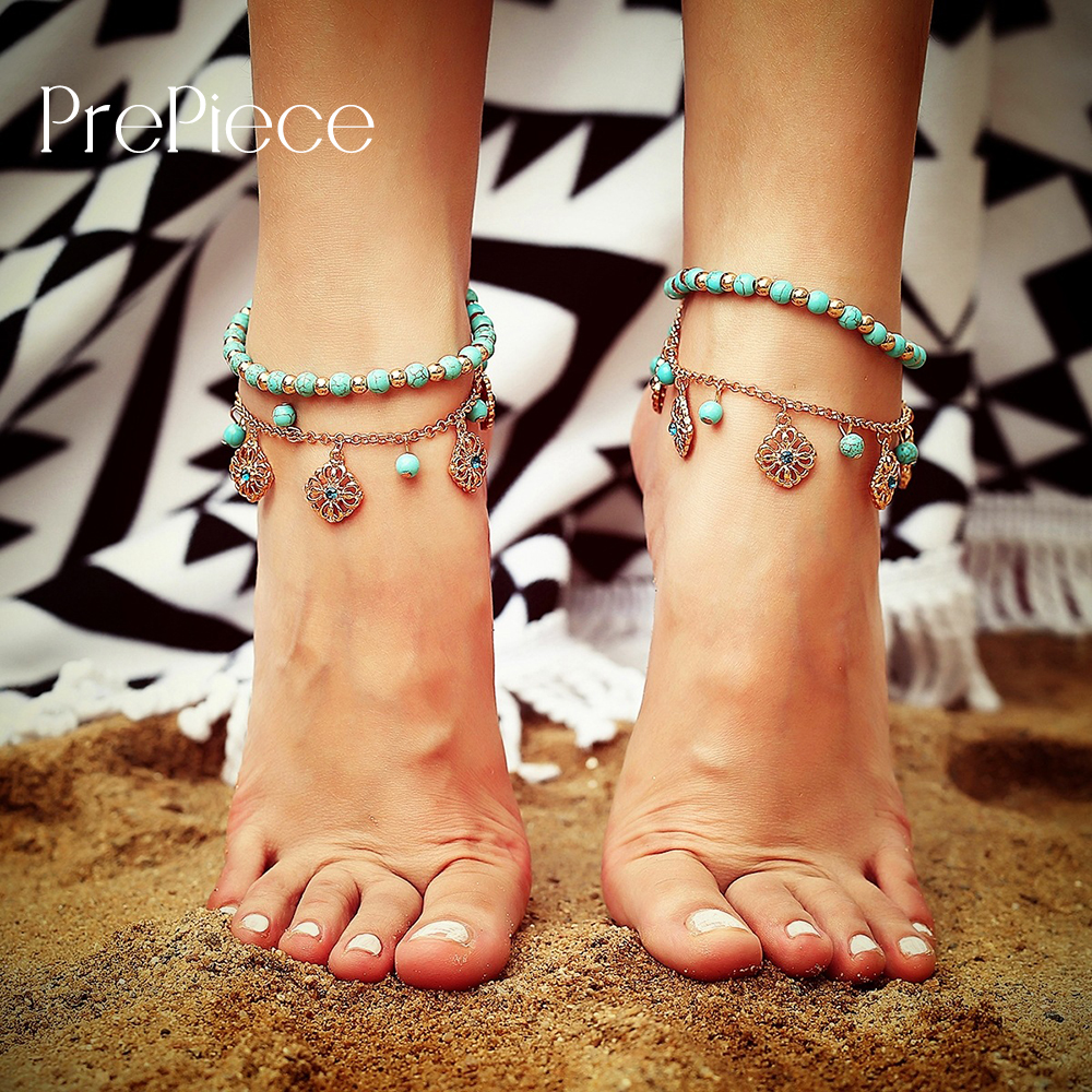 Trendy Daily News: PrePiece Alloy Multi Layer Anklet Green Beads Pendant