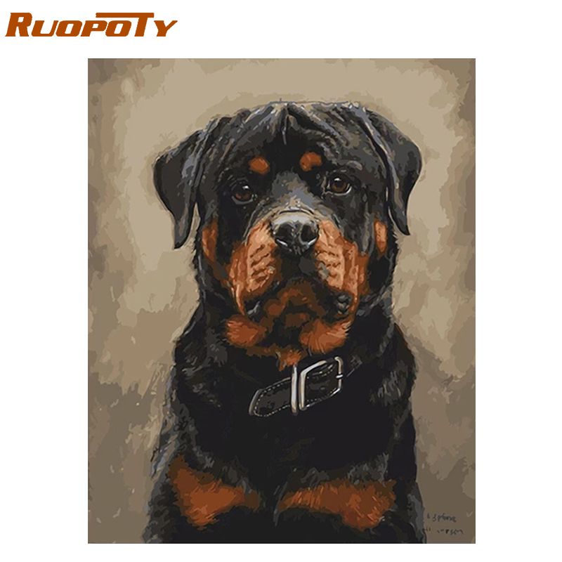 RUOPOTY Frame Black Dogs Animals DIY Painting By Numbers Kits Acrylic Paint On Canvas Hand Painted Oil Painting For Home Decors