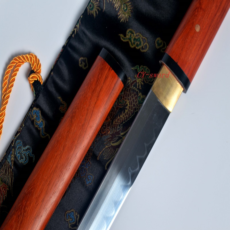 Battle Ready Japanese Zatoichi Katana Ninja Sword Redwood Saya T-10 Blade Real Yokote