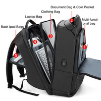 Hot Selling Men Travel Laptop Backpack Water Repellent Functional Rucksack with USB Port