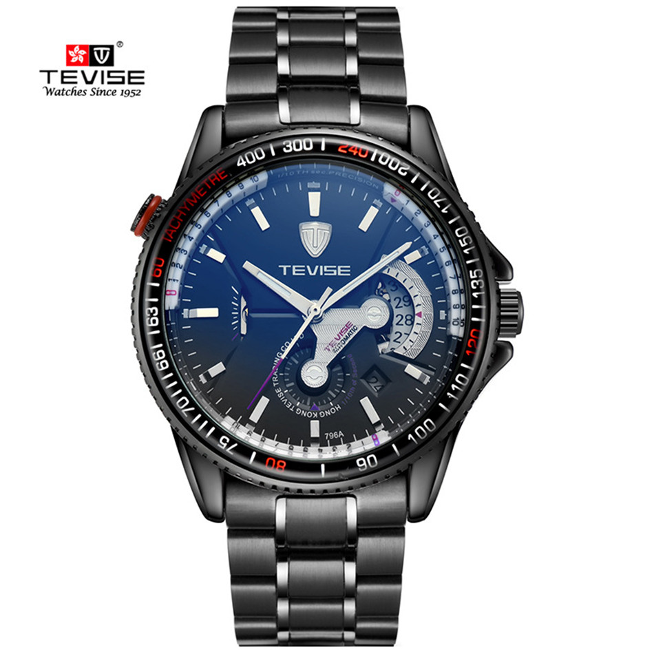 TEVISE Men Watch Black Stainless Steel Automatic Mechanical Men's Watch Luminous Waterproof Watch Rotate Dial Mens Wristwatches tevise men watch black stainless steel automatic mechanical men s watch luminous waterproof watch rotate dial mens wristwatches