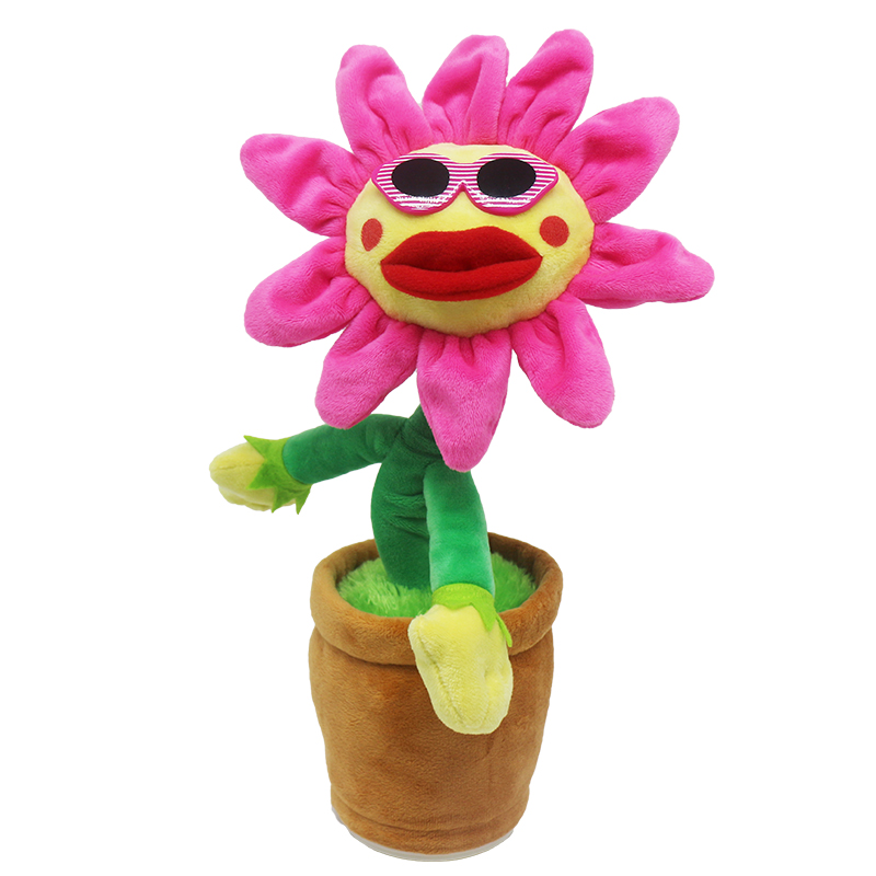 Novelty Plush Toys Lighting Beautiful Funny Dancing Flower Simulation Sunflower Toy Kids Electric Toy with Music Christmas Gift