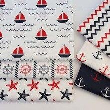 728421d29 160 cm * 50 cm algodón estilo marino negro rojo timón velero chevron  starfish anchor tela para DIY ropa de cama cojín trabajo he.