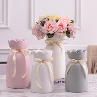 Simple Modern Wind Storable Water Storage Ceramic Vase White Powder Grey Marble Flower Arrangement Desktop Ornament
