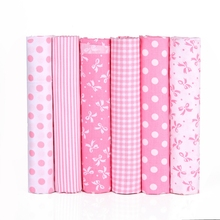 6 pieces / New print 100% Cotton Twill Cloth Pink Printed Pillow Bag DIY Handmade Sewing Textile 40x50