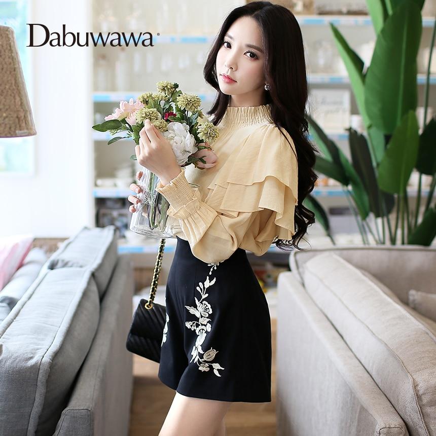 Dabuwawa Black 2017 Winter Warm   Shorts   Women High Waist Woolen   Shorts   Skirt Vintage Embroidery   Shorts