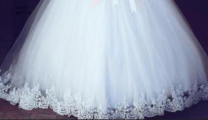 Image 3 - Laço branco apliques vestido de baile baratos vestidos de casamento 2020 fora do ombro mangas curtas vestidos de noiva china