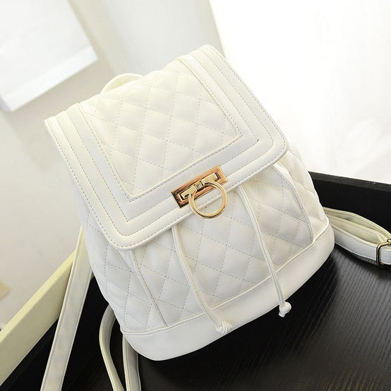 Simple White Color Casual Style Fashion School Bag Leather Backpack for  Teenager Girls Free Shipping (Color  Black 314bad150e985