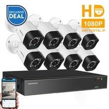 Anpviz 8CH CCTV System H.265 1080P PoE NVR KIT 8Pcs 2MP Bullet IP Camera HDD Optional Outdoor Night Vision Security System