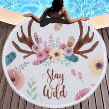 Cartoon Feather Print Round Large Beach Towel Microfiber Tassel Yoga Mat for Living Room Home Decor Boho Style Bath