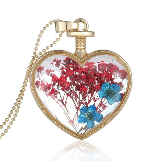 New gold Simulation Dried flowers Transparent Glass Locket necklaces Heart Pendant Lockets necklace for women free shipping