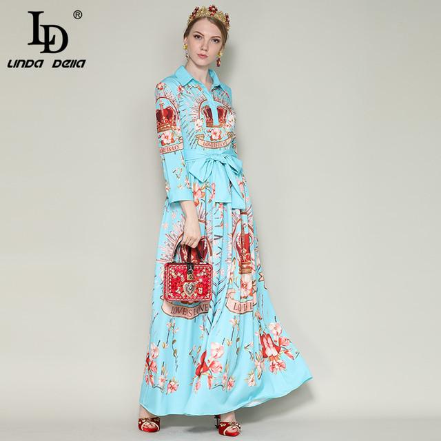 Runway Maxi Dress Women's Long Sleeve Elegant Belt Crown Floral Print Long Dress