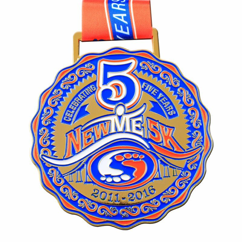 Factory custom marathon medal with ribbons cheap OEM metal new running medals