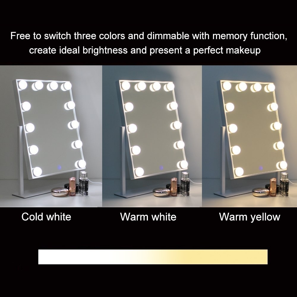 Chende Hollywood Table Top Makeup Mirror Vanity Mirror with 12 LED Dimmable Bulb (1)