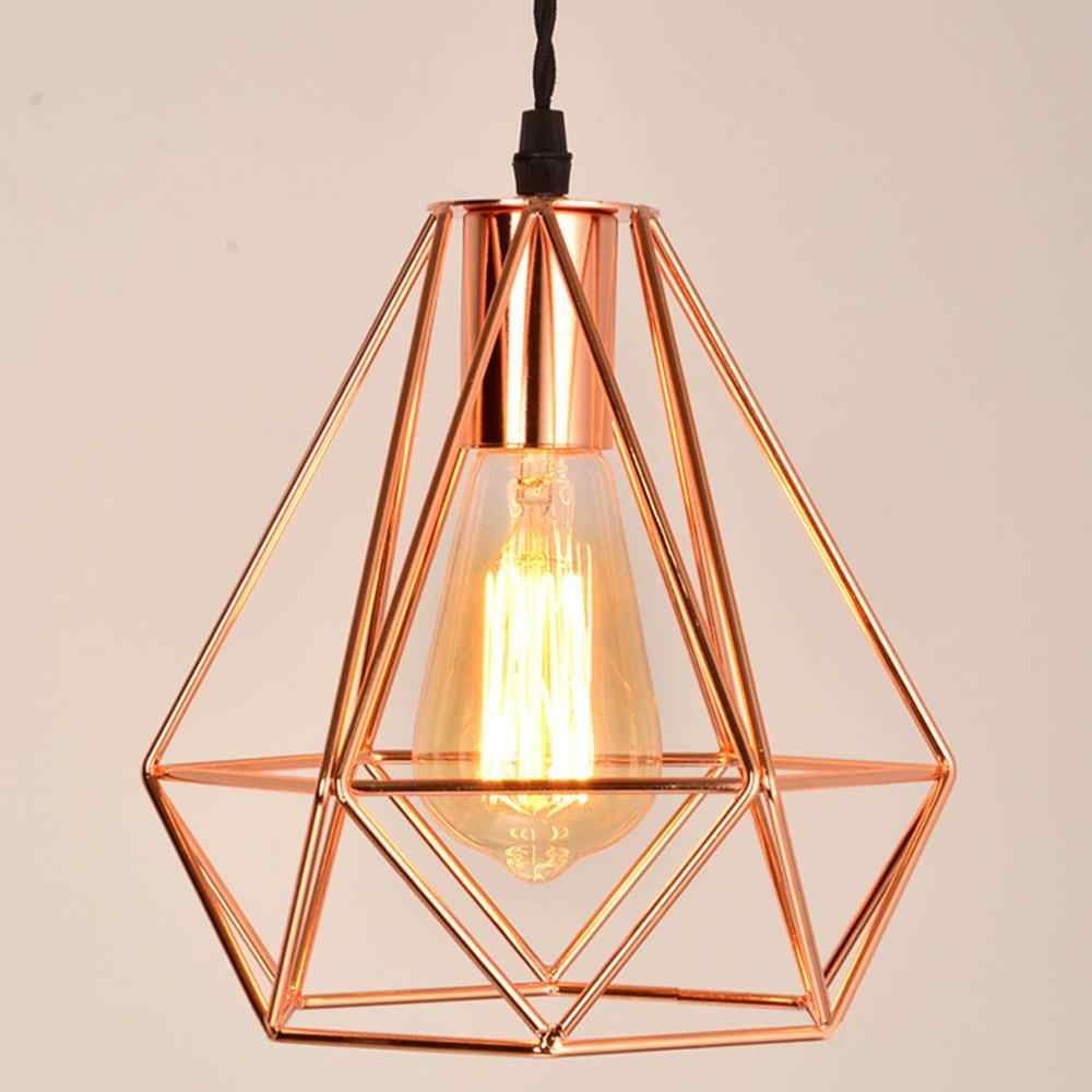 2018 modern plating metal cage pendant lamp,vintage plating rose gold birdcage creative hanging lamp for restaurant living room