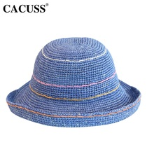CACUSS Summer Hat For Women Sun Hats Handmade Striped Straw 5529cd90bef5