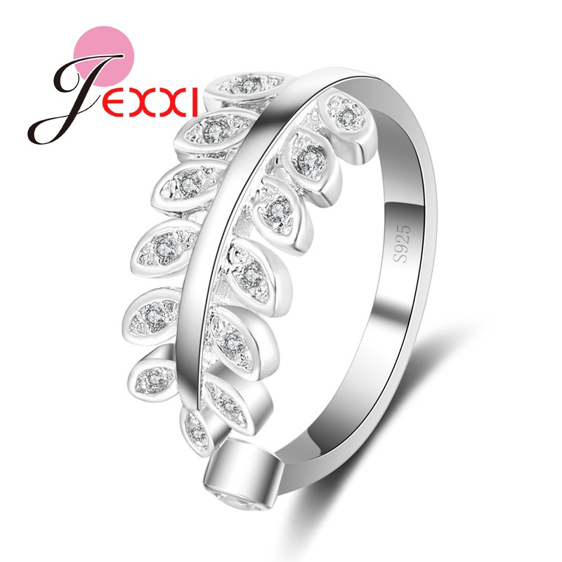 13169b8e143c JEXXI Exquisite Band Jewelry Women Girls Fashion 925 Sterling Silver  Wedding Rings Leaf Shape With CZ Crystal