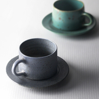 Japanese Style Ceramic coffee cup and saucer Set Handmade Pottery Milk tea cup espresso cups juego de tazas de cafe Cups