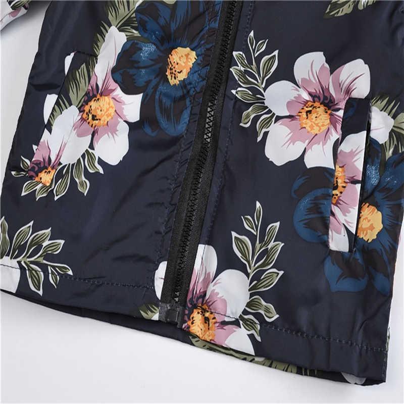 Jas voor meisjes Bloemen bloemen Gedrukt Hooded Lente windjack kinderen bovenkleding peuters jas Enfant jongens jassen Tops