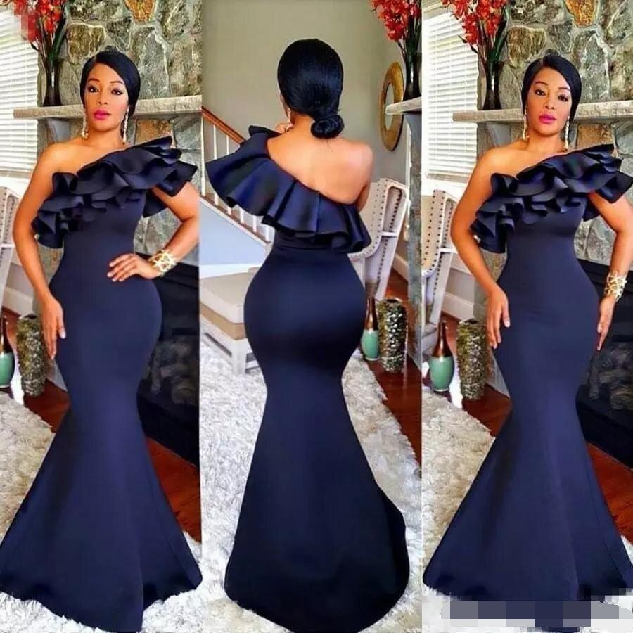 2019 Navy Blue Mermaid   Bridesmaid     Dresses   One Shoulder Ruffles Sweep Train Plus African vestido madrinha vestido de festa longo