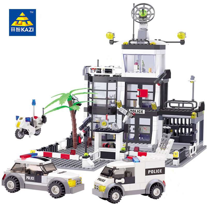 KAZI 6725 631Pcs City Police Station  Building Blocks action figure baby toys for children building bricks brinquedos недорого