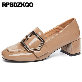 Closed Brand Size 33 Metal Retro Fashion Vintage Black Chunky Casual Square Toe 2018 Designer Women Luxury Shoes Medium Heels