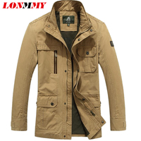 LONMMY M 4XL Bomber jacket men Cotton multi pocket jaqueta Windbreaker jacket men military style militar 2018 spring Autumn
