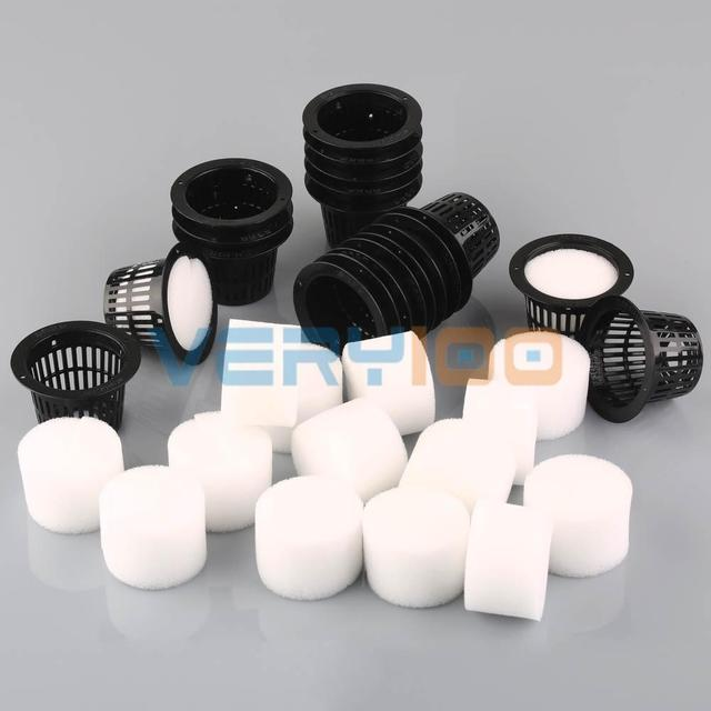 20Set Dia.43mm Mesh Pot Net Basket+Clone Collar Foam Insert Hydroponic Aeroponic Plant