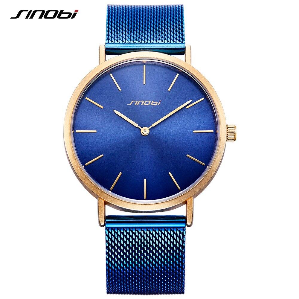 SINOBI 9780 Simple Classic Mens Watches Top Brand Luxury Gold Hands Retro Milan Watchband Blue Black Slim Quartz Wirst Watch New