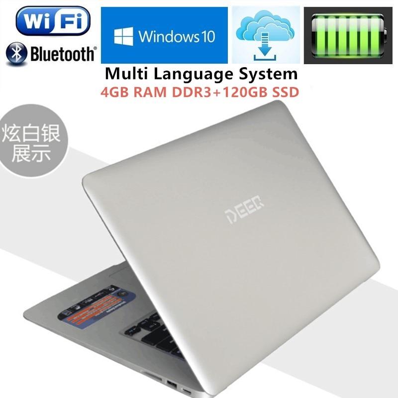 4GB RAM+120GB SSD Ultrabook 14.1 1920x1080P Laptop Intel Pentium N3520 Quad Core 2.16GHz office AZERTY Russian Spain Keyboard ноутбук windows 8 ultrabook qtech 116g 12 intel 4 azerty hdd 500g qt116g