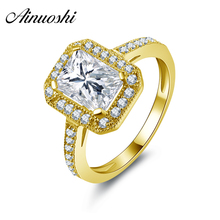 AINUOSHI 10k Solid Yellow Gold Women Engagement Ring 1.5 CT Rectangle Cut Ringen Voor Vrouwen Bridal Rings Band Customized