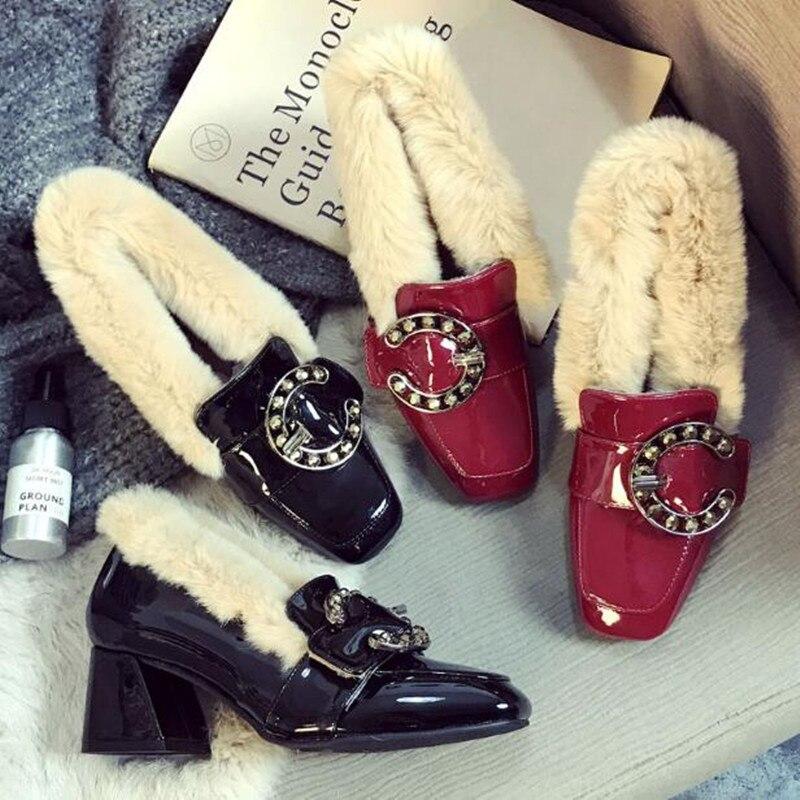 ฤดูใบไม้ร่วงและฤดูหนาวรองเท้าผู้หญิง 2018 ใหม่แฟชั่นสไตล์เกาหลีสีแดงรุ่นสวมใส่รองเท้าเดียวผู้หญิง plus กำมะหยี่รองเท้า-ใน รองเท้าส้นสูงสตรี จาก รองเท้า บน   2