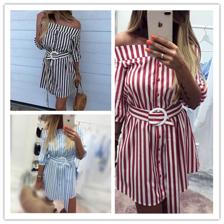 S-2XL women  long sleeve slash neck mini dress sashes off shoulder single breast short casual leisure brand striped